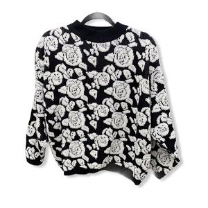 Vintage Jamie Scott Floral Sweater With Pearls